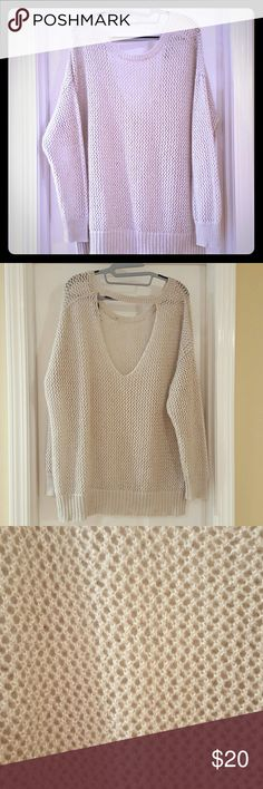 Sparkling gray sweater Large weave Jennifer Lopez sweater with statement scoop back. Light gray with silver threads. Good condition. Size XL. Jennifer Lopez Sweaters Crew & Scoop Necks
