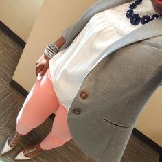 Coral White and Gray Blazer – Pink and Gabulous