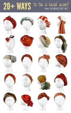 "20 Ways To Tie A Head Scarf - head to ""knot gallery"" http://www.scarves.net/how-to-tie-a-scarf/head-scarves"