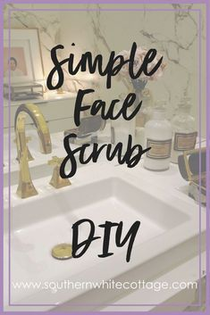 Simple face scrub. This easy DIY face scrub is easy and likely you'll already have all the ingredients on hand! Add a few drops of essential oils and you're golden.
