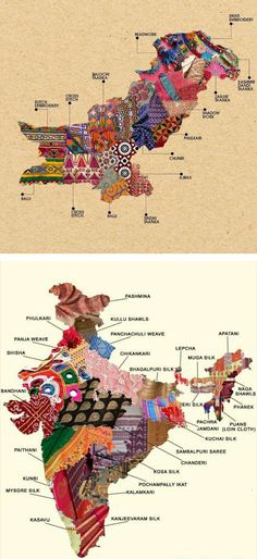 These textile maps of Pakistan and India show the rich diversity of fashion across each country.