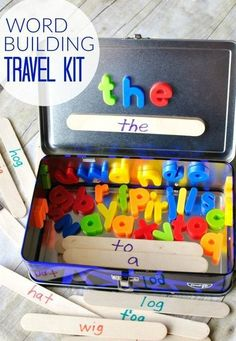 World Building Travel Kit write some sight words on craft sticks, fill a metal lunch box with magnetic letters, and have your child match the letters.