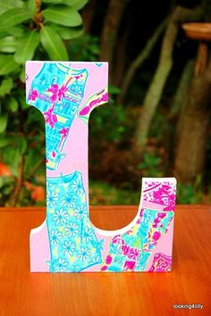 1 Large Lilly Pulitzer Monogram Fabric Wooden by looking4lilly, $17.95