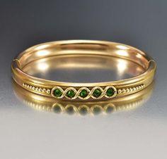 Emerald Victorian Bracelet, Rose Gold Filled Bracelet, Rhinestone Emerald Bracelet, Bangle Bracelet,t Antique Jewelry, Cuff Bracelet by boylerpf on Etsy https://www.etsy.com/listing/267413557/emerald-victorian-bracelet-rose-gold