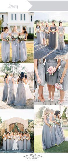 grey wedding color ideas for summer bridesmaid dresses #summerwedding #rainbowclub  https://www.rainbowclub.co.uk/blog/perfect-shoes-for-your-bridesmaids/