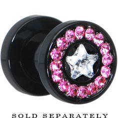 2 Gauge Black Pink Titanium Star CZ Screw Fit Tunnel #bodycandy #plugs #gauges