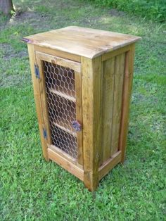 Rustic Pallet cabinet with chicken wire door / by UpTheCreekRustic Pallet Kitchen Cabinets, Kitchen Wall Units, Pallet Cabinet, Diy Cabinets, Kitchen Wood, Cupboards, Small Wood Projects, Diy Pallet Projects, Pallet Ideas