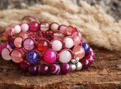 Shamballa Macrame Adjustable Bracelet Pink Peach Agate by ByLEXY