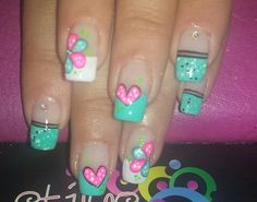 Nails French Manicure Designs, Nail Polish Designs, Creative Nail Designs, Creative Nails, Glam Nails, Toe Nails, Valentine Nail Art, Manicure Y Pedicure, Flower Nails