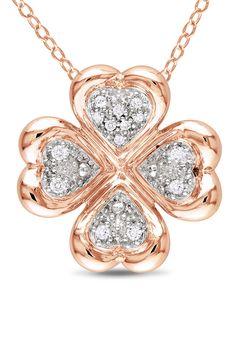 Diamond & Pink Silver Pendant Necklace.