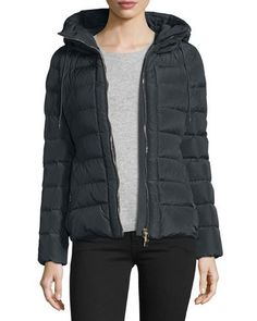 MONCLER Idrial Hooded Short Puffer Jacket, Charcoal. #moncler #cloth #
