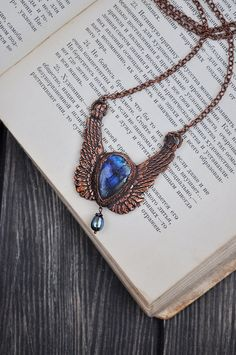 Angel wing necklace labradorite copper pendant OOAK от ChechelArt