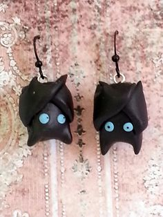 Kawaii Gothy Bat Earrings - OOAK