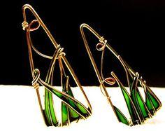 Triangle Earrings. 12K Gold Filled Earrings. Dangle Earrings. Colorful Earrings. Emerald Green Earrings.Lightweight Earrings. Green Jewelry