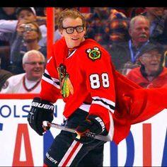 Patrick Kane as Super Kane at the NHL All-Star game. I love this kid.