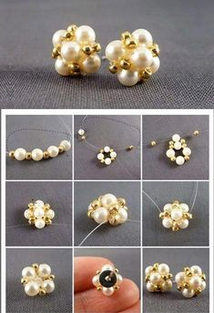 My favorite jewelry at Pandora - Fine Jewelry Ideas - Ohrringe (mit Anleitung)・☆・ ・☆ ・– ℑ - Beaded Beads, Beaded Earrings Patterns, Diy Earrings, Beaded Necklace, Beaded Bracelets, Stud Earrings, Pearl Bracelet, Rhinestone Earrings, Leaf Earrings