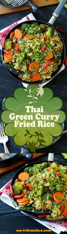 Simple and delicious Thai Green Curry Fried Rice recipe. A breeze to prepare, packed with healthy taste (very little oil, uses fresh ingredients)