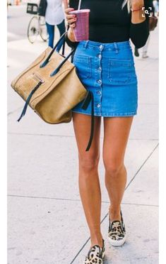 Denim skirt + leopard slides