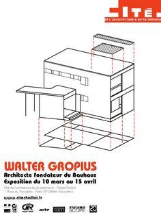 Design - Bahaus  Walter Gropius Bauhaus Art, Walter Gropius, Architectural Drawings, Art Deco, Paintings, Architecture, Design, School, Letterpress Printing