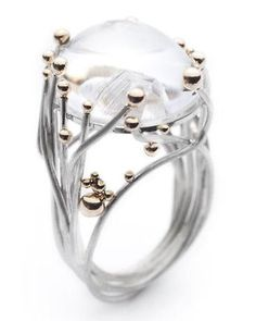 Noble Women White Moonstone Silver Gold Plated Wedding Engagement Jewelry Ring