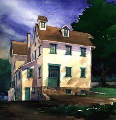 James Mann       Watercolor.   Duhram Mill . watercolor illustration