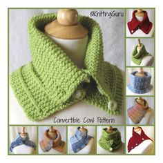 Convertible Garter Rib Cowl Knitting Pattern + 2 Tutorials by KnittingGuru.