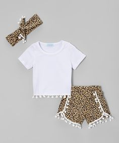 Another great find on #zulily! Just Couture White Leopard Tee & Shorts Set - Infant & Kids by Just Couture #zulilyfinds