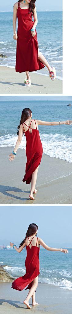 Red Spaghetti Straps Dress