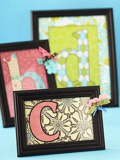 Make Monogrammed Home Decor from Scrapbooking Supplies...Design by Melissa Inman...Melissa rounded up pretty patterned paper and picture frames to make these monogram home decor accents. She die- or hand-cut a mat and an oversize letter, mounted the initial with adhesive foam, and embellished.