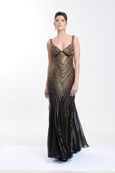 Vestido longo preto em seda pura, bordado com paetês foscos dourados.  Cod. 0059   #zumzum #zumzumfesta #vestido #festa #vestidodefesta #dress #partydress