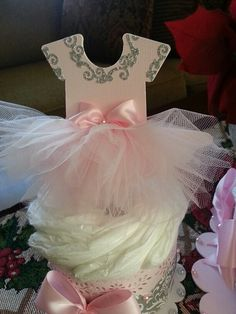 One Tier Ballerina Diaper Cake With Double by TheCarriageShoppe