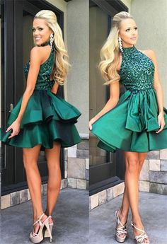 Green Prom Dresses Halter Prom Dresses Beading Open Back Prom Dresses Homecoming Dresses,Short Prom Dresses,Pretty Party Dresses,Sparkly Homecoming Dresses For Teens