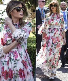 Melania Trump in ☀️☀️Sicily - Toarmina wearing this beautiful bold floral dress from D O L C E & G A B B A N A ❤️🇮🇹 Thanks to Stefano Gabbana 😘😘 for this stunning flower dream 🌸🌺🇮🇹 Melania Trump Dress, First Lady Melania Trump, Milania Trump Style, Estilo Street, Spring Summer Fashion, Beautiful Dresses, Fashion Dresses, Celebs, Style Inspiration