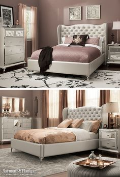 This new bedroom set is fit for a queen! Just look at those mirrored accents on the nightstand. Glamorous! Appropriately named, Hollywood Loft, is perfect for any bedroom that needs some crystal and shimmer.
