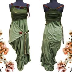 Green with Envy- One of a Kind Khaki Goddess Convertible cotton Jersey Dress - Indie Haute Couture -  urban Princess fashion -Strappy Military bustle -