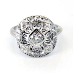 Edwardian Art Deco European Cut Antique Diamond Engagement Ring