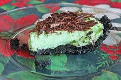 Grasshopper Pie, like Mint Chocolate Ice cream in a delicious, beautiful pie.