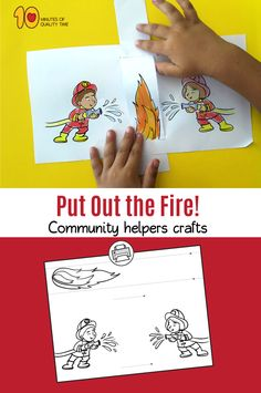 Put Out the Fire – Firefighters Craft - wood design Fireman Kids, Fireman Crafts, Firefighter Crafts, Learning Games For Kids, Fun Activities For Kids, Community Helpers Crafts, Autism Crafts, Art For Kids, Crafts For Kids