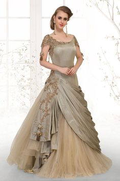 Picture of Splendid olive green designer long gown Indian Wedding Gowns, Indian Gowns Dresses, Pakistani Dresses, Indian Long Gowns, Gown Wedding, Indian Designer Outfits, Designer Gowns, Indian Outfits, Anarkali Dress