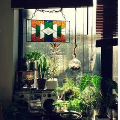 80s boom box, check, plants, check, stained glass, check..