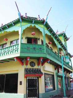 Green and cream building, Chinatown, Los Angeles