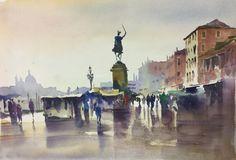 """San Zaccharia, Venice"" watercolour by Trevor Waugh"