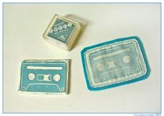Nice idea: make a brooch. Cassette stamp by Two Cheese Please, via Flickr