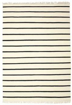 Dorri Stripe - White / Schwarz Teppich 220x320