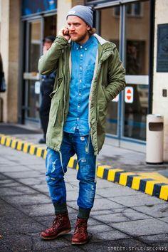 All jeans look + parka jacket, men's fashion