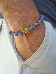 Men's Bracelet with Semi Precious Stones Amber by tocijewelry, $38.00