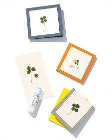 Four-leaf clovers are rare enough to have inspired legends and songs, but you can make your own good fortune with a set of whimsical greeting cards.