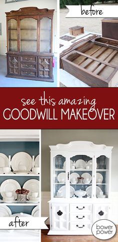 See this amazing Goodwill cabinet makeover. Use these TIPS to take any old piece of furniture, and give it LIFE AGAIN!