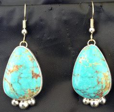 Blue Turquoise with Brown Matrix Earrings by PeteTrujillo on Etsy