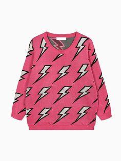 Knit Sweater In Lightning Print
